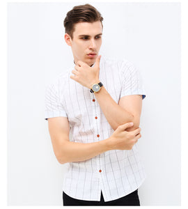 New Plaid Short Sleeve Striped Shirt