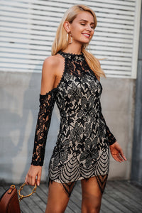 Halter Cold Shoulder Black Lace Mini Dress
