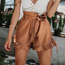Lace Up Leather Shorts