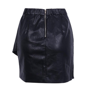Ruffle Short Leather High Waist Skirt
