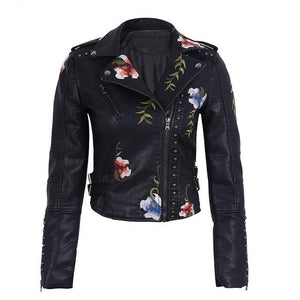 Casual Floral Faux Leather Jacket