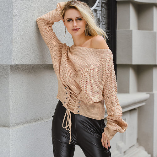 Black Lace - Up Knitted Pullover Jumper