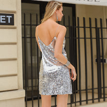 Silver Sequin Design Backless Mini Dress