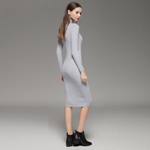 Turtleneck Knitted Bodycon Sweater Dress