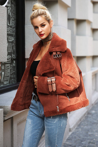 Faux Leather Suede Lamb Jacket