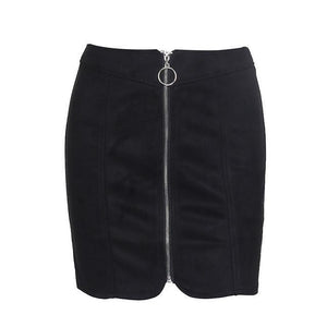 Zipper Ring Leather Suede High Waist Pencil Skirt