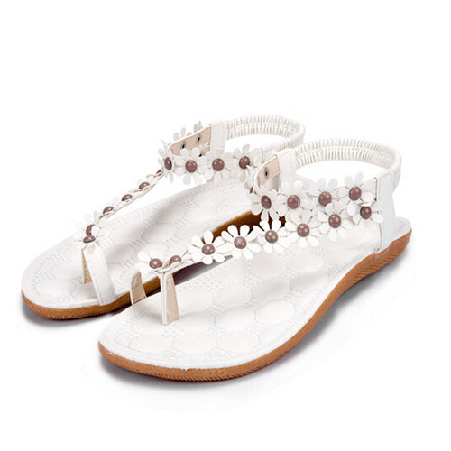 Summer Beaded Flat Gladiator Sandals