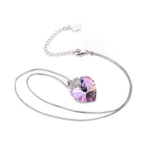 Crystal Heart Shape Amethyst Necklace