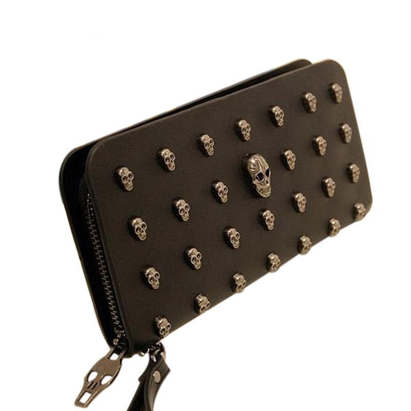 Metal Skull Design Leather Wallet/ Card Holder