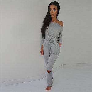 High Street Style Elegant Off Shoulder Jumpsuit