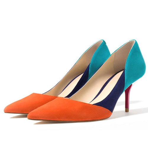 Multi - Coloured Pointed Toe High Heels