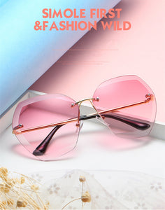 Rimless Transparent Gradient Designer Sunglasses