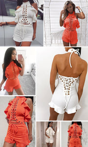 Halter Lace Up Backless Romper