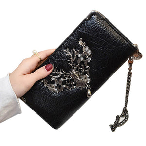 Portable Leather Long Metal Skull Wallet