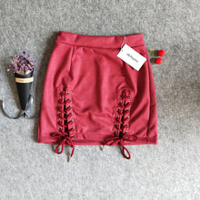 Vintage High Waist Suede Mini Skirt