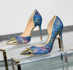 Rivet Wedding Glitter Pointed Toe High Heel Shoes