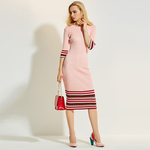 Slim Striped Cotten Knitted Sweater Party Dress