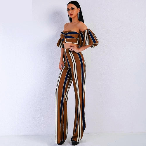 Two Piece Set Puff Striped Jumpsuit