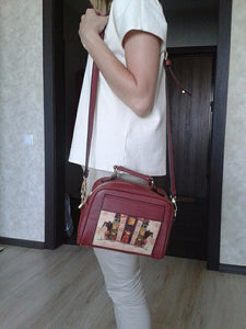 Intercontinental Styled Leather Shoulder Handbag