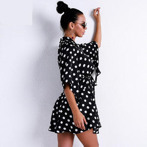Elegant Dot Printed Mini Dress