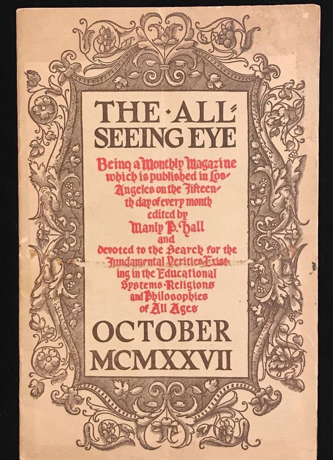 MANLY P. HALL - THE ALL-SEEING EYE, 1927 - OCCULT MYSTICISM SPIRITISM MAGAZINE