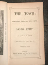 THE TOWN by LEIGH HUNT, 1st/1st, 1848 - 2 Volumes with HANDWRITTEN LETTER, HUNT