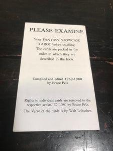 FANTASY SHOWCASE TAROT - B. Pelz - 1st Ed, 1980 - Collaborative Tarot Deck, OOP