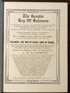 GREATER KEY OF SOLOMON - Mathers, De Laurence, 1914 - INVOCATION MAGICK GRIMOIRE