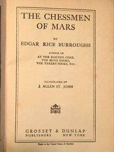 CHESSMEN OF MARS by Edgar Rice Burroughs, 1922 Sci Fi
