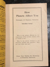 1930 LLEWELLYN GEORGE - HOW PLANETS AFFECT YOU: PLANETARY VIBRATIONS - ASTROLOGY