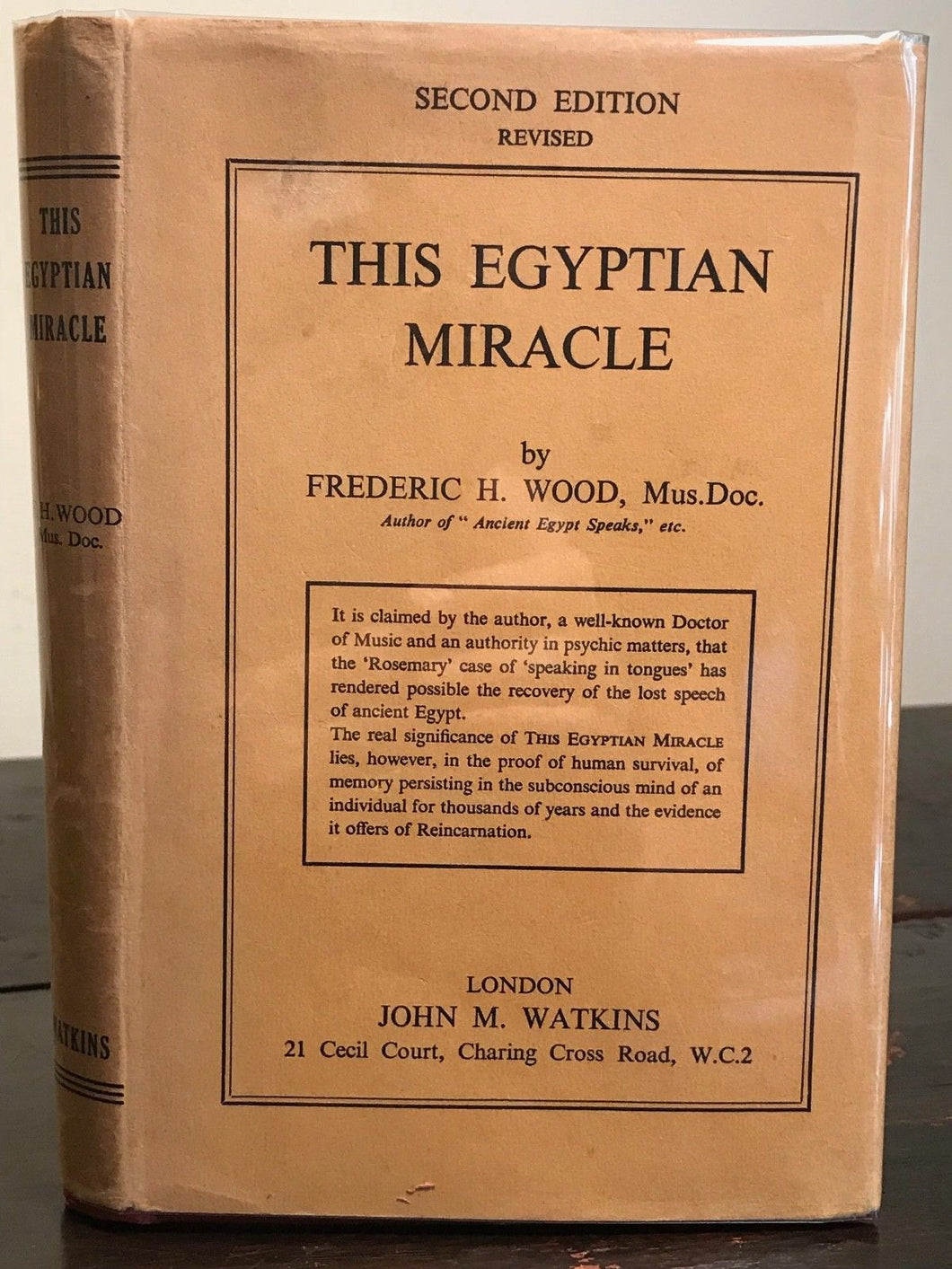 RESTORATION OF LOST SPEECH OF ANCIENT EGYPT BY PSYCHIC MEANS - WOOD, HC/DJ 1955
