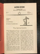 MANLY P. HALL - HORIZON JOURNAL - Full YEAR, 4 ISSUES, 1949 - PHILOSOPHY OCCULT