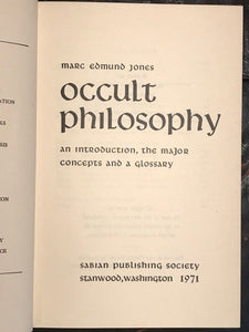 OCCULT PHILOSOPHY Marc E. Jones — 1st Ed. Reprint 1971, HC/DJ, PROFANE MYSTERIES