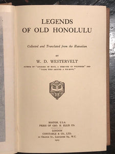 LEGENDS OF OLD HONOLULU - Westervelt, 1st Ed, 1915 - SCARCE HAWAII FOLKLORE MYTH