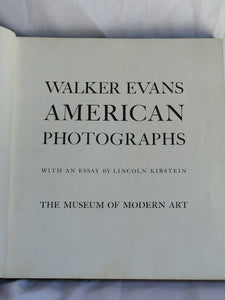WALKER EVANS AMERICAN PHOTOGRAPHS, 1st/1st, MOMA Photography 1938 RARE Ltd Ed