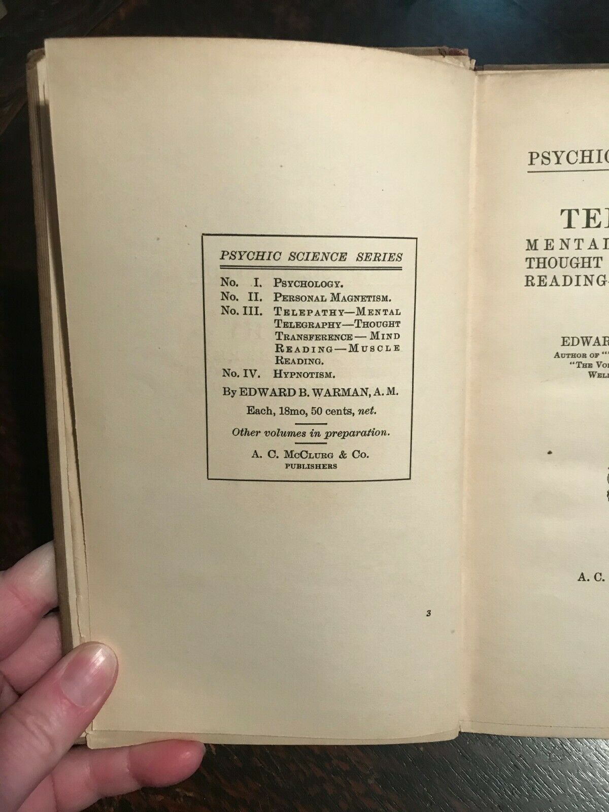 TELEPATHY - PSYCHIC SCIENCE SERIES - Warman, 1910 - MIND READING, DIVI –  Black Cat Caboodle