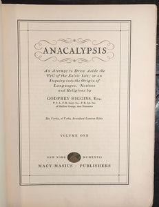 ANACALYPSIS - G. HIGGINS - LIMITED ED, #46 of 350, 1927 Vol 1 PANDEISM RELIGIONS