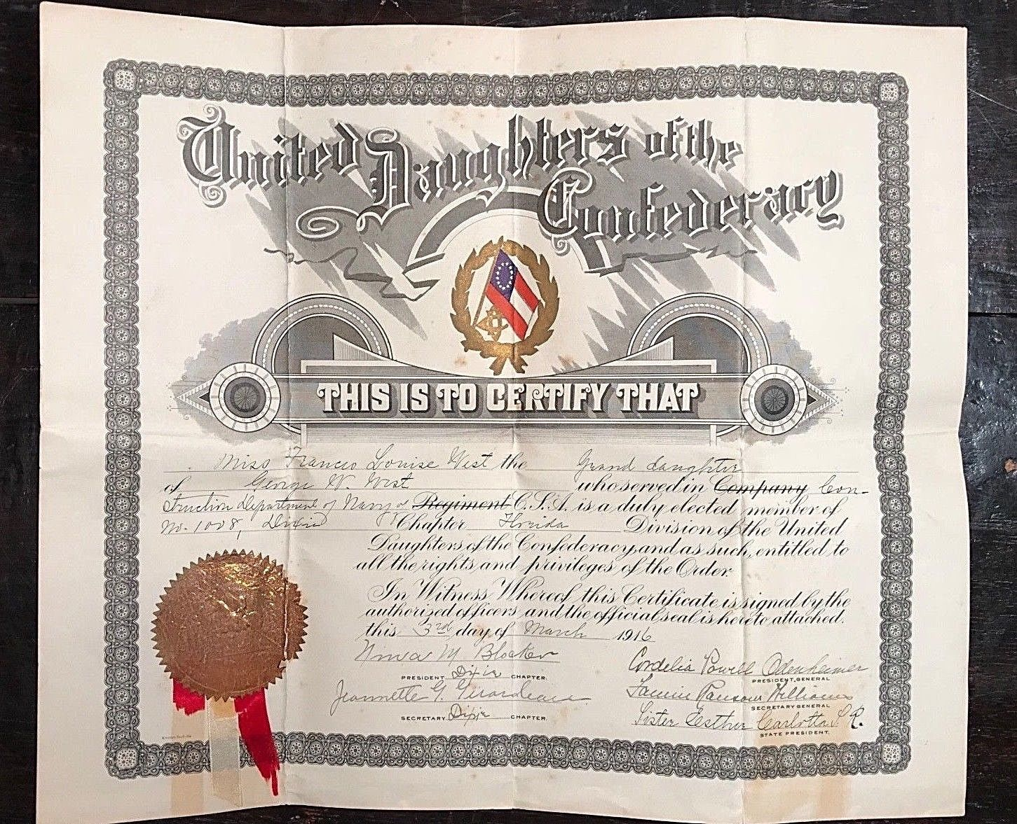 1916 United Daughters of the Confederacy Membership Certificate - George W. West