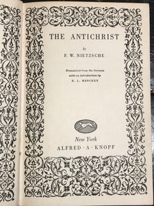 THE ANTICHRIST by Friedrich Nietzsche, Early Edition ~1927 Alfred Knopf