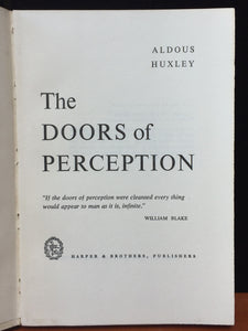 THE DOORS OF PERCEPTION, Aldous Huxley, 1st / early, HC/DJ 1954 $1.75, Mescalin