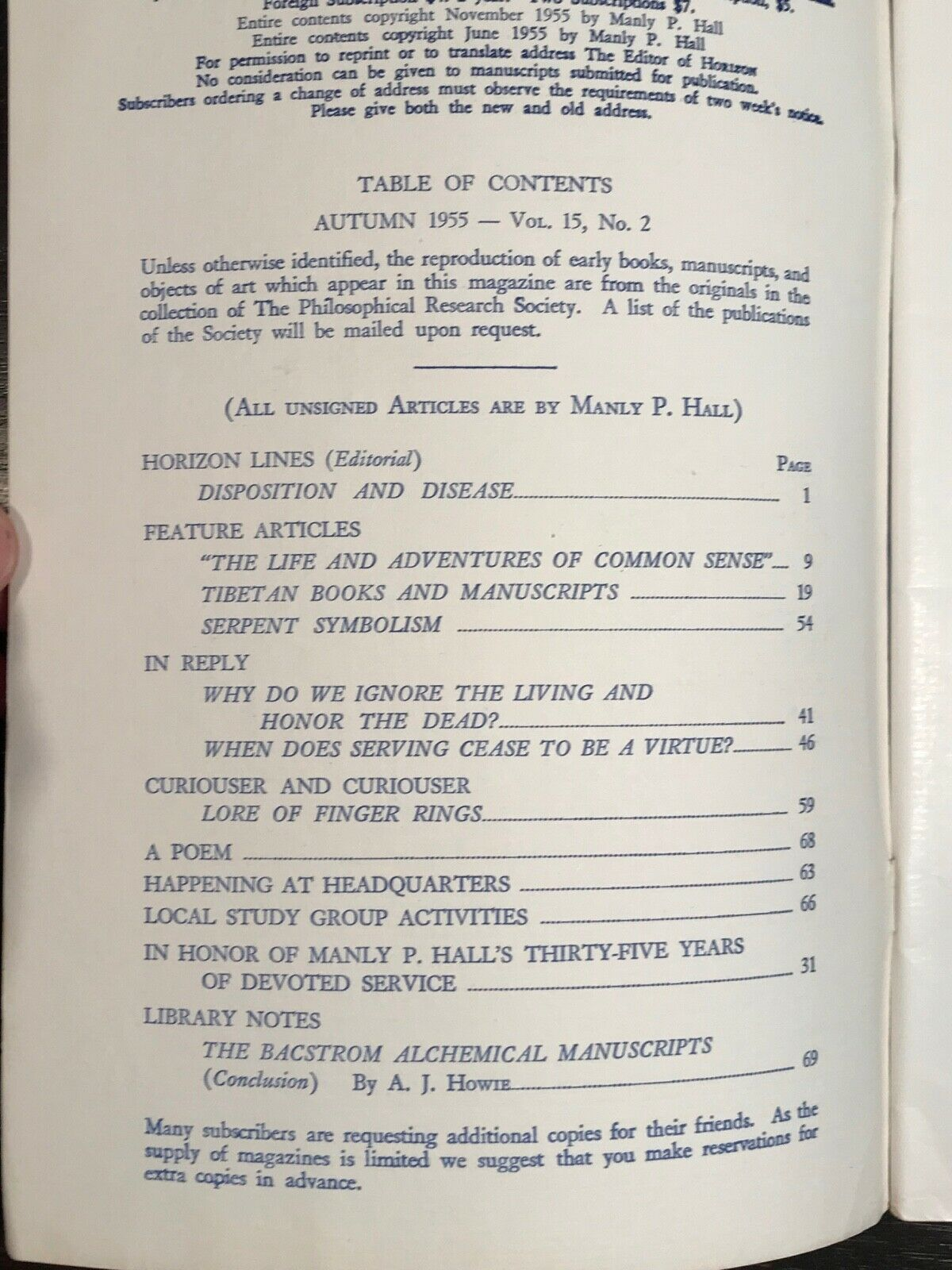 MANLY P  HALL - HORIZON JOURNAL - Full YEAR, 4 ISSUES, 1955