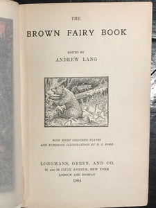 THE BROWN FAIRY BOOK - ANDREW LANG, H.J. Ford Color Plates - First UK Ed, 1904
