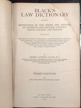 VINTAGE BLACK'S LAW DICTIONARY – H.C. Black - 3rd Edition, 1933