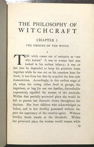 PHILOSOPHY OF WITCHCRAFT - Ferguson, 1st Ed 1924 - MAGICK WICCA WITCHES OCCULT