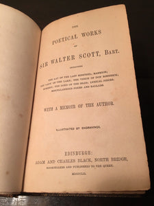 POETICAL WORKS OF SIR WALTER SCOTT 1851 – Hand Tooled Leather Gilt Fore Edge