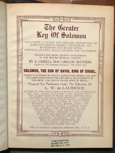 THE GREATER KEY OF SOLOMON - Mathers, De Laurence - INVOCATION MAGICK GRIMOIRE