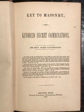1871 - KEY TO MASONRY & KINDRED SECRET COMBINATIONS - 1st Levington, FREEMASONS