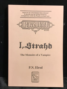 RAVENLOFT I, STRAHD: Memoirs of a Vampire P.N. Elrod UNCORRECTED PROOF 1993 SC