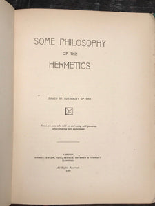 1898 — SOME PHILOSOPHY OF THE HERMETICS, D. HATCH 1st/1st — MAGIC SPIRITS DEVIL