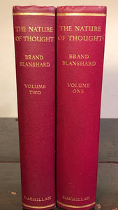THE NATURE OF THOUGHT by Brand Blanshard, 1st / 1st, 1940 HC/DJ, 2 Volumes